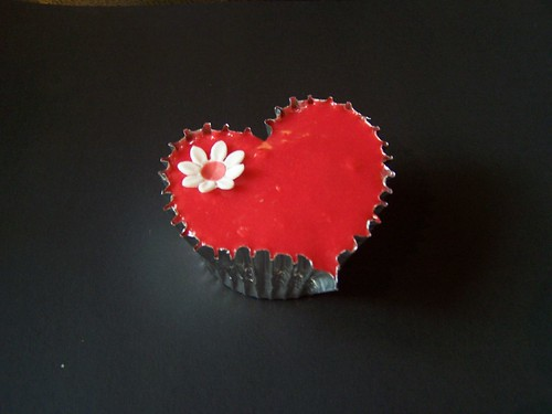 Red heart shaped cupcake