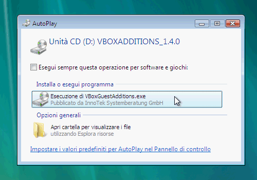 Fig. 2 - installazione VirtualBox Guest Addition in Windows Vista - autoplay CD-ROM virtuale