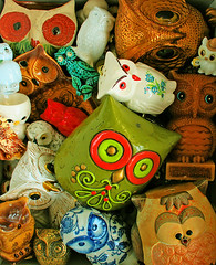 Hoot Loot (boopsie.daisy) Tags: wood color cute glass colors vintage ceramic stash colorful candle many collection plastic several pile owl multiple wax ashtray lots knickknacks owls trinkets tons coinbank oodles eggholder wowiekazowie