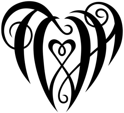 heart tattoo with initials. quot;TWHquot; Heart Design