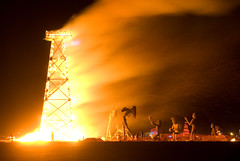 Crude Awakening Fire (John Tupper) Tags: playa burningman blackrockcity burning snappy greenman 2007 blackrock burningman2007