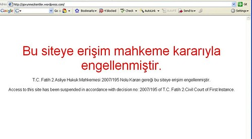 Wordpress'e Türkiye'den ulaşım yok.