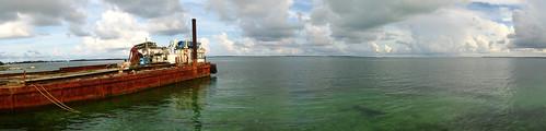Old barge near Marsh Harbour, Abacos Island, Bahamas