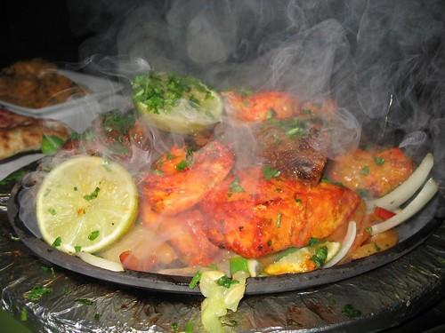 Tandoori Sizzler Lamb, Salmon, Chicken, and Shrimp