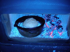 Bread baking in the fireplace