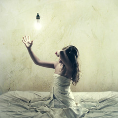 the light collector (brookeshaden) Tags: light white selfportrait texture lightbulb bed hand darkness bright away sheets hide abandon squareformat blanket shield reach shelter grab wrinkles collector grasp