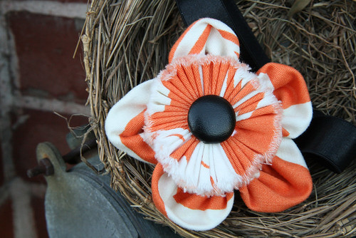 Halloween Headband - Amy Butler Frayed Fabric Flower