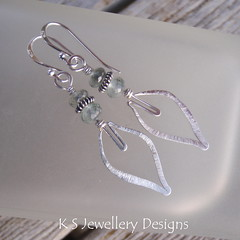 Icy Leaves - Moss Aquamarine Sterling Silver Hammered Wire Leaf Earrings (KS13) (KSJewelleryDesigns) Tags: blue winter ice leaves metal silver grey leaf wire shiny frost hammered shine bright handmade aquamarine wrapped frosty jewelry jewellery faceted round metalwork bead handcrafted earrings organic icy sparkling forged polished semiprecious gemstone sterlingsilver wirework wirewrapped rondelle silverwire brightsilver mossaquamarine