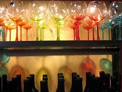 Rainbow and reflections: wine store, Healdsburg, California, USA (ArtsySF  ~ Marjie) Tags: california original shadow colors reflections glasses rainbow bottles shelf sonomacounty nophotoshop photocontest winecountry winebottles healdsburg designhotels impressiveimages colourartaward originalreplacedwithstraightenedphoto 4faves43views84072pm designandthecity submittedtopoolforphotocontest121808 213121808