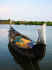 Fishing Boat (Sangeeth VS) Tags: sky india net water canon boat fishing kerala canoe s2is cochin kochi backwater sangeeth