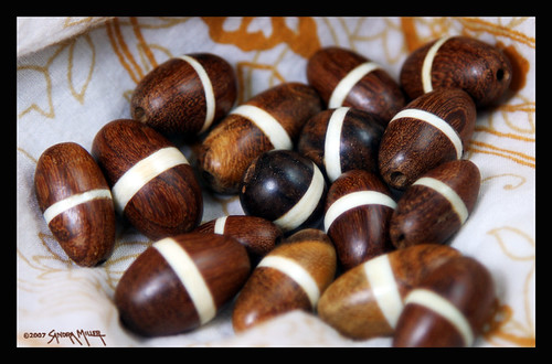 Wooden beads inlaid in bone...each unique!
