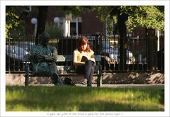 I gave her gifts of the mind... (HaukeSteinberg.com) Tags: street ireland summer dublin bench reading irland poet grandcanal patrickkavanagh ire