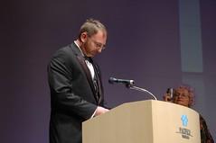 Paul Melko accepts Best Short Story for Tim Pratt