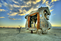Apocalypse Wagon (zachwass2000) Tags: sunset sky clouds wagon desert playa burningman blackrockcity brc bm hdr stagecoach apocalpyse