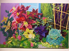 27.Windowsill Blooming 24x36 (Variag) Tags: family plants flower color green window nature leaves set scarlet garden painting leaf sticks sill blossom outdoor fineart magenta violet dramatic vine foliage collection harmony shutter cabbage bloom chicks alive greeting inviting oilpainting combination soothing houseplants lively hens floweringcabbage perenials cheerfull gardeningplants