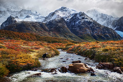 My Nymph in the River (Stuck in Customs) Tags: travel wild panorama patagonia mountains cold water argentina argentine digital america river outdoors photography march blog high republic dynamic stuck natural hiking south scenic brush hike photoblog valley software processing andes imaging guide wilderness icy frigid companion range nymph scrub 2009 hdr repblica tutorial irina travelblog customs argentino glacial hdrtutorial stuckincustoms photographyblog stuckincustomscom nikond3x