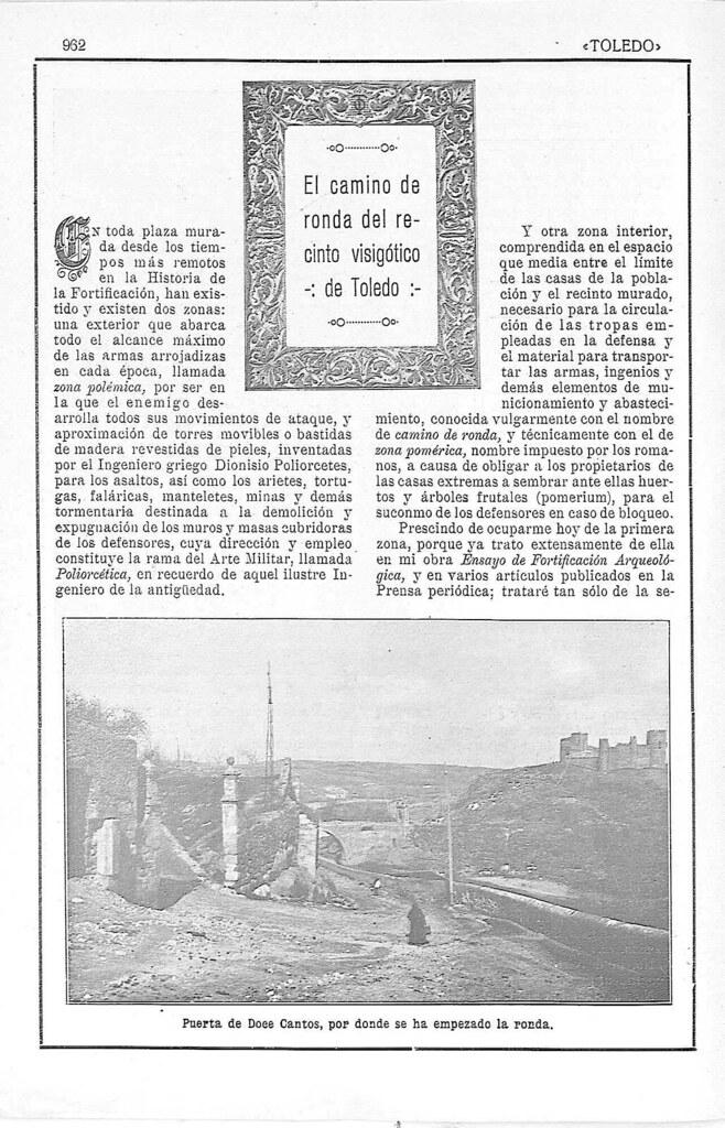 Artículo de Manuel Castaños y Montijano sobre la el nuevo Camino de Ronda de Toledo publicado en la Revista Toledo en julio de 1924. Pág. 1