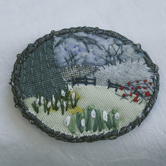 Winter Fields - Brooch (Lynwoodcrafts) Tags: flowers winter flower floral berries embroidery brooch textile fields snowdrops embroidered snowdrop hawthorn textilejewelry embroideredbrooch textilebrooch embroideredjewelry