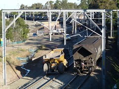 end of train passing dump truck (sth475) Tags: railroad train dumptruck railway australia nsw coal wollongong endoftrain illawarra eot roadrail