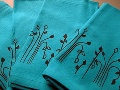 Turquoise Napkins with Brown Branch Print