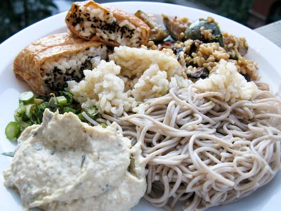 Cold Leftovers. Inari. Soba Noodles. Sushi Rice. Chinese Broccoli. Green Curry Eggplant.jpg