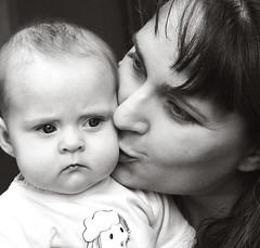 Mother's kiss (bassicharmony) Tags: family blackandwhite cute love mom kiss montana twin cuddle swanlake comfort eleanor
