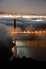 North Tower Revealed (Tyler Westcott) Tags: sanfrancisco california longexposure usa fog night shadows fullmoon explore goldengatebridge marinheadlands hawkhill sfchro