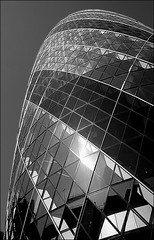 The Gherkin (Mintball) Tags: uk england urban bw detail london tower architecture skyscraper architecturaldetail normanfoster swissre modernarchitecture 30stmaryaxe thegherkin glassandsteel stirlingprize ilovemypic