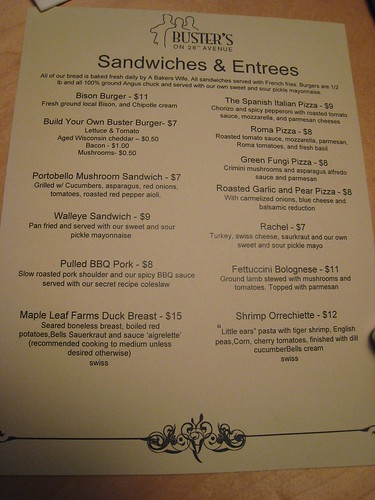 Buster's on 28th Menu