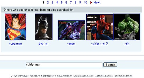 Suggested Image Searches on Yahoo!