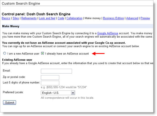 Google Custom Search Engine Adsense Setup