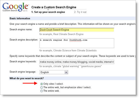 Google Custom Search Engine 1