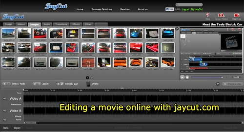 Editing a movie online with jaycut.com