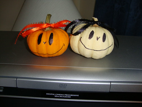 pumpkin and ghost, as decorated by my mom