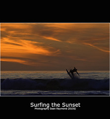 Surfing the Sunset (Sean Raymond Photography aka ShutterKrazy) Tags: ocean california sunset orange colors clouds monterey nikon surfer sunsets burn northern d90