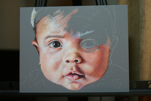 In progress colored pencil portrait entitled Ze n