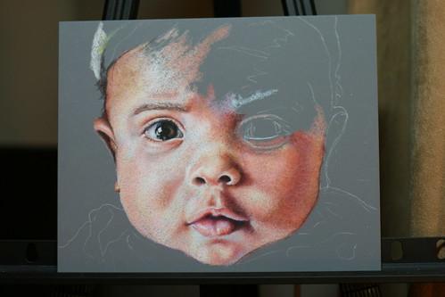 In progress colored pencil portrait entitled Ze n