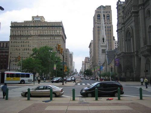 Looking up Broad Street