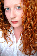 Palestar (julsatmidnight) Tags: blue light red portrait orange woman selfportrait girl face angel self ga project hair georgia eyes alien naturallight athens chick redhead curly stare 365 shoulders angelic juls blueyes meloncholy 365days