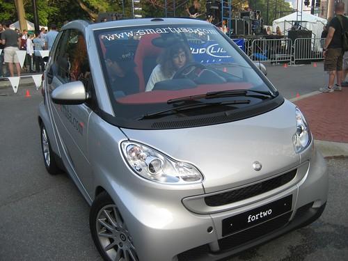 Stephanie Test Driving Smart Car