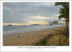 The Dawning of a New Day.... (fotofantasea) Tags: ocean blue sea sky brown mountains tree green beach nature water clouds composition sunrise landscape island sand waves photographer shoreline footprints australia wallart palm driftwood photograph frame queensland coastline coconuts ambience missionbeach naturesfinest sonya100 auselite hollykempe
