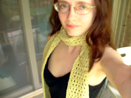 Bejeweled scarf modeled