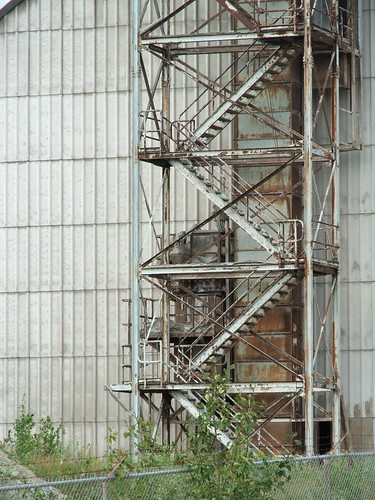 Steel stairs at the Greymont Lime mill in Havelock, New Brunswick, taken on a recent bicycle trip.