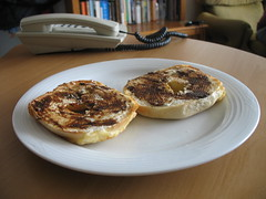 Cheese bagel with cream cheese and vegemite