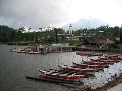 Boats for hire at Lake Bratan Bali (balilogue) Tags: bali lakebratan bedugal candikuning puraulundanubratan