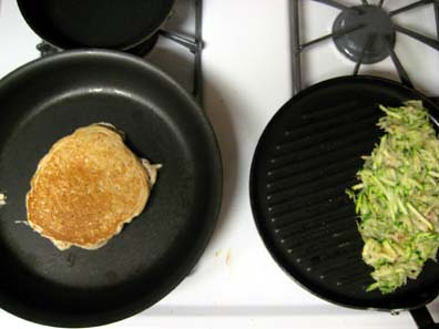 Apple Cinnamon Pancakes and Zucchini/Potato Hash Browns