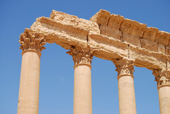 Columns in the Temple of Ba'al in Palmyra, Syria