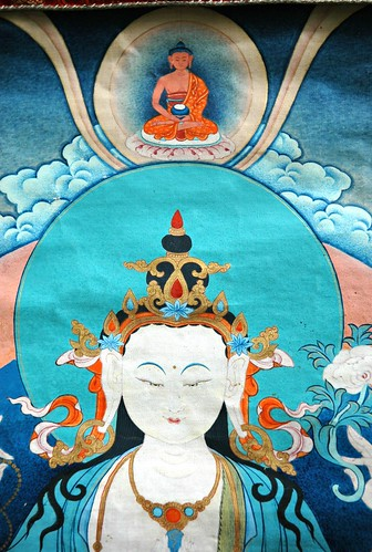 Detail - Chenrezig thangka, Avalokiteshvara, Bodhisattva of Compassion, crowned by Amitabha, Tibetan Buddhism, Seattle, Washington, USA by Wonderlane
