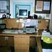 Telephone attendant desk behind front desk