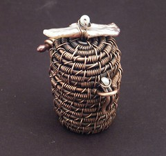 Suzy's Basket (MaryTucker) Tags: hinge wire basket box mary copper stick pearl woven tucker checkered weaving lid trinket coiling marytuckerartisanjewelrywirewrappedwovenwrappingweavingbasketcoilingcopperstickpearltrinketboxlidhinge